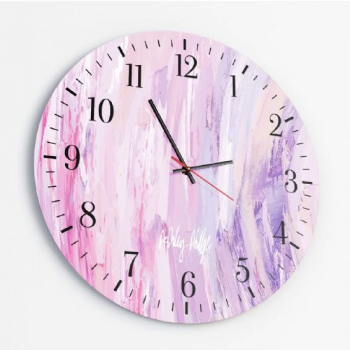 Sonic Wave Pink - Round Glass Clock
